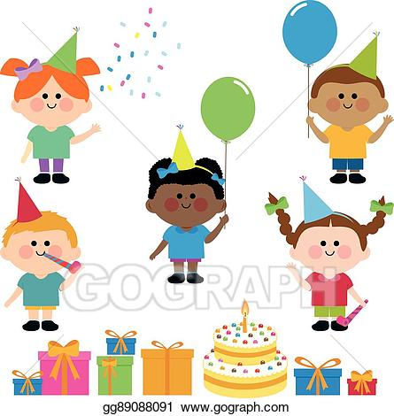 Clipart birthday photos with kids at a cake clipart library download Vector Stock - Kids birthday party cake and presents. Clipart ... clipart library download