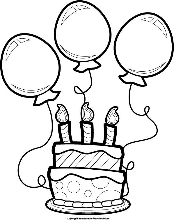 Birthday clipart black & white