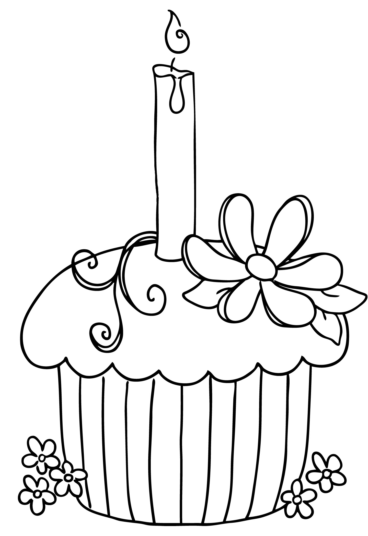 Cupcake 2 candles clipart black and white png transparent download Happy birthday black and white birthday black and white birthday ... png transparent download