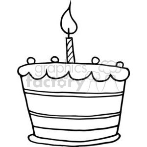 Birthday cake border clipart black and white jpg black and white stock Black and White Birthday Cake One Candle clipart. Royalty-free clipart #  379434 jpg black and white stock
