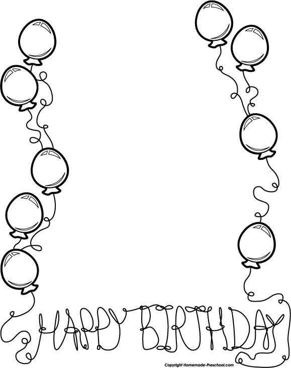 Birthday cake border clipart black and white jpg freeuse stock Birthday black and white black and white birthday clip art borders ... jpg freeuse stock