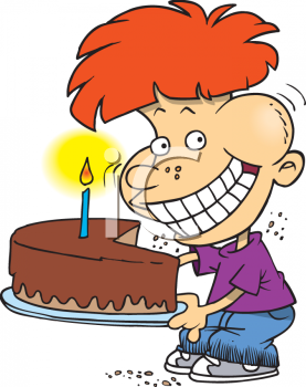 Birthday cake boy clipart. Picture of a eating