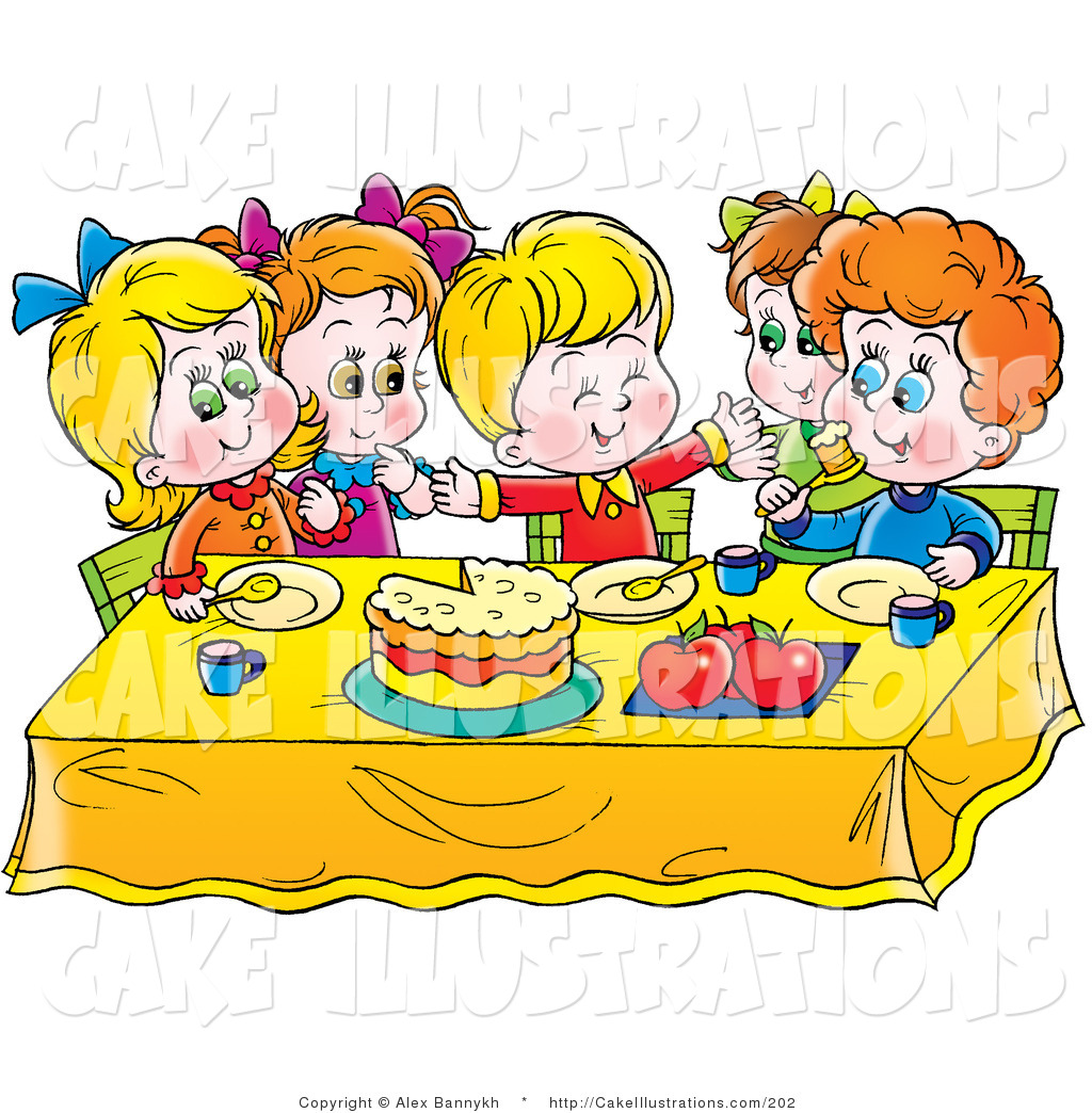 Birthday cake boy clipart. Eating kid group of