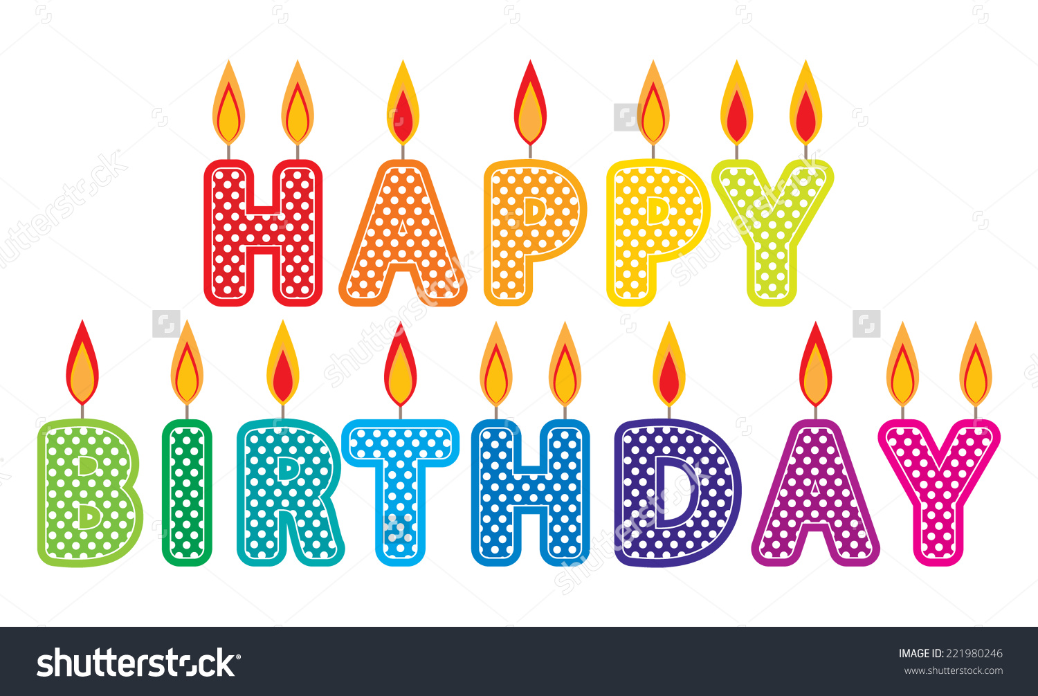 Birthday cake candle clipart jpg free stock Happy Birthday Candles Clip Art Set Stock Vector 221980246 ... jpg free stock