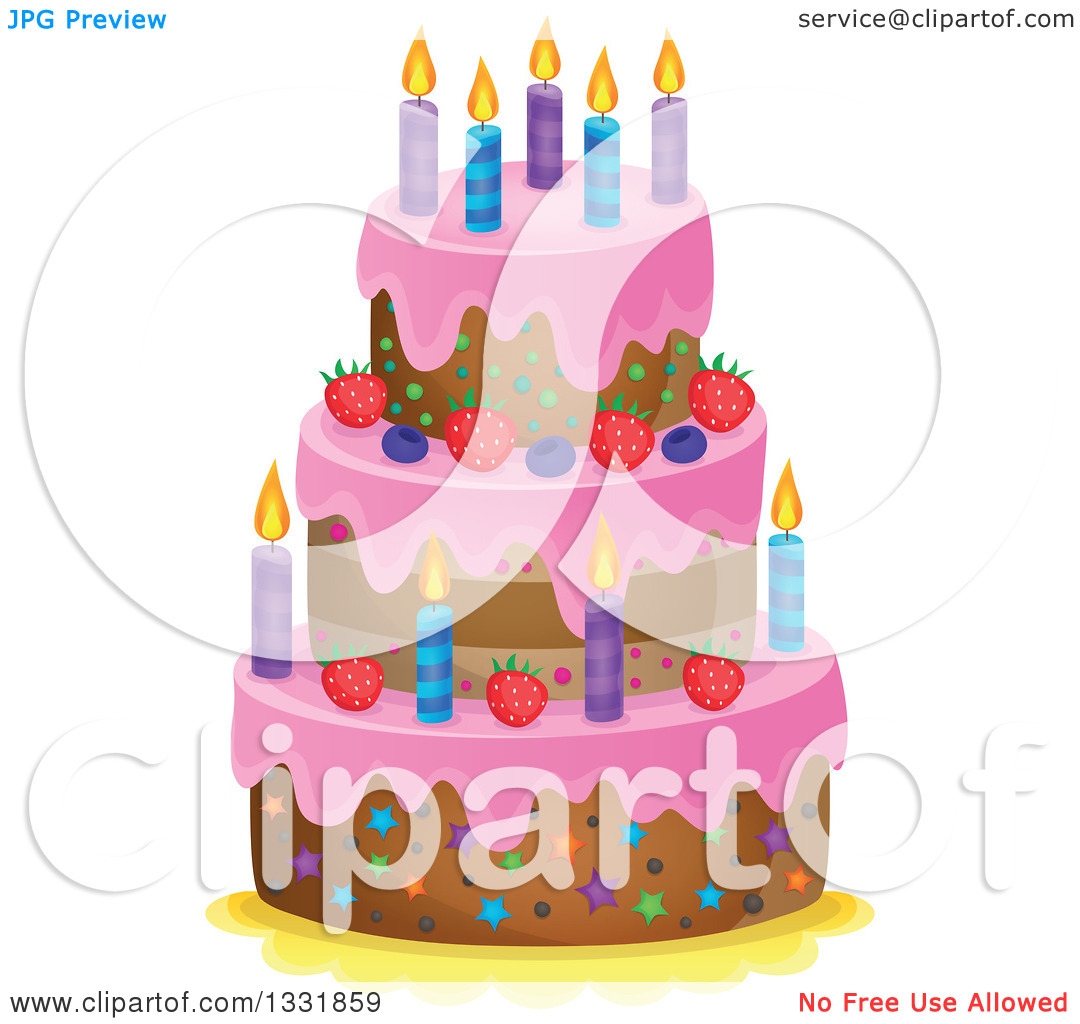 Birthday cake cartoon clipart vector library library Clipart of a Cartoon Birthday Cake with Pink Frosting, Berries and ... vector library library