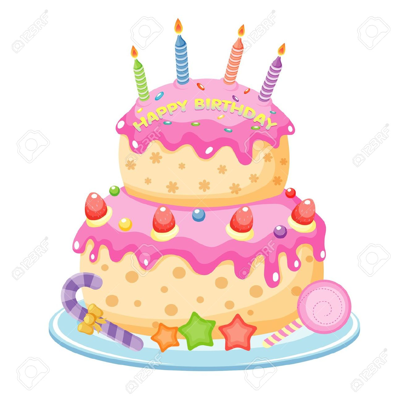 Birthday cake cartoon clipart jpg black and white Birthday Cake Royalty Free Cliparts, Vectors, And Stock ... jpg black and white