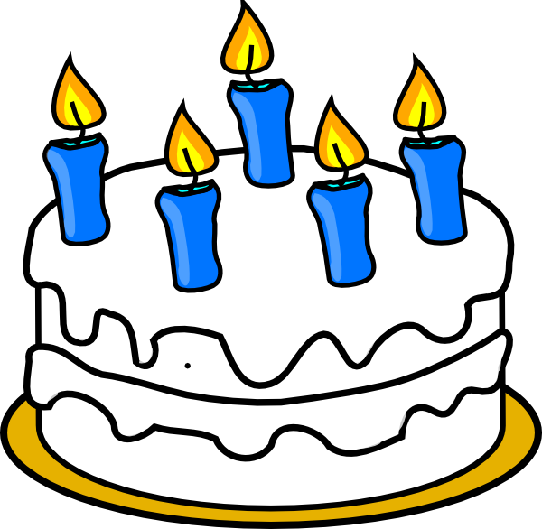 With blue lit candles. Clipart of birthday cake