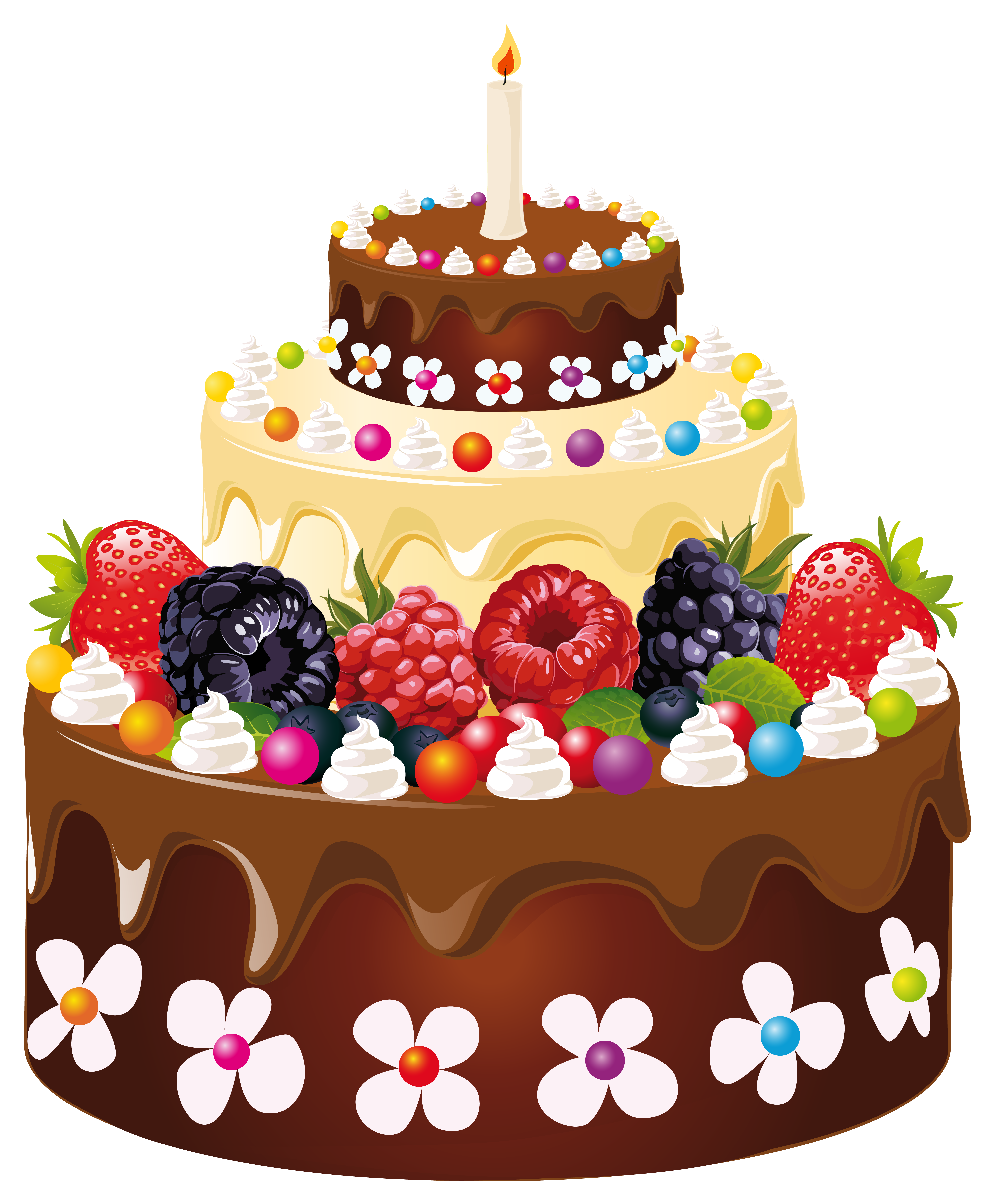 Happy birthday cake with candles clipart svg black and white Birthday Cake with Candle PNG Clipart Image | Gallery Yopriceville ... svg black and white