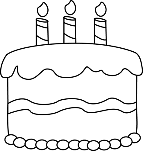 Birthday cake to color clipart graphic transparent library clip art black and white | Small Black and White Birthday Cake Clip ... graphic transparent library