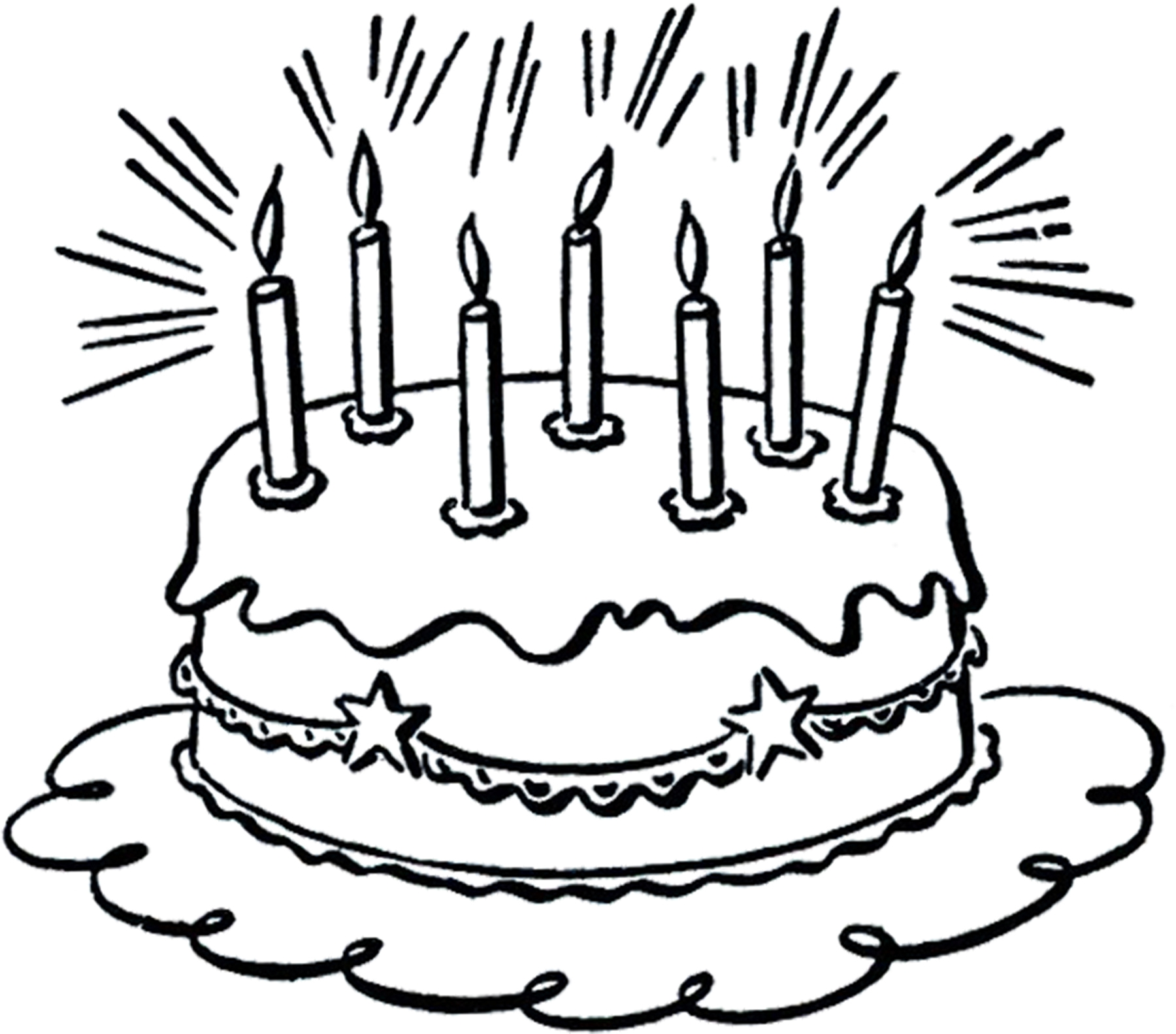 Free Birthday Cake Clip Art Black And White, Download Free Clip Art ... image transparent library