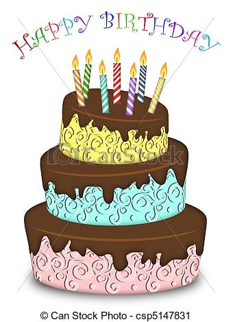 Birthday cake clipart funny clip free library Clipart of Happy Birthday Three Layer Funny Cake with Candles ... clip free library