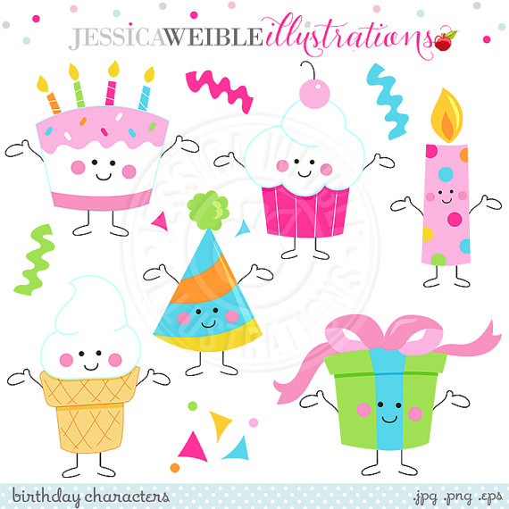 Birthday cake cute clipart clip free library Birthday Characters Cute Digital Clipart, Birthday Clip Art, Cute ... clip free library
