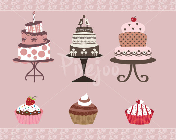 Birthday cake cute clipart graphic royalty free stock Cute Printable Cakes And Cupcakes Clipart Wedding Cake Birthday ... graphic royalty free stock