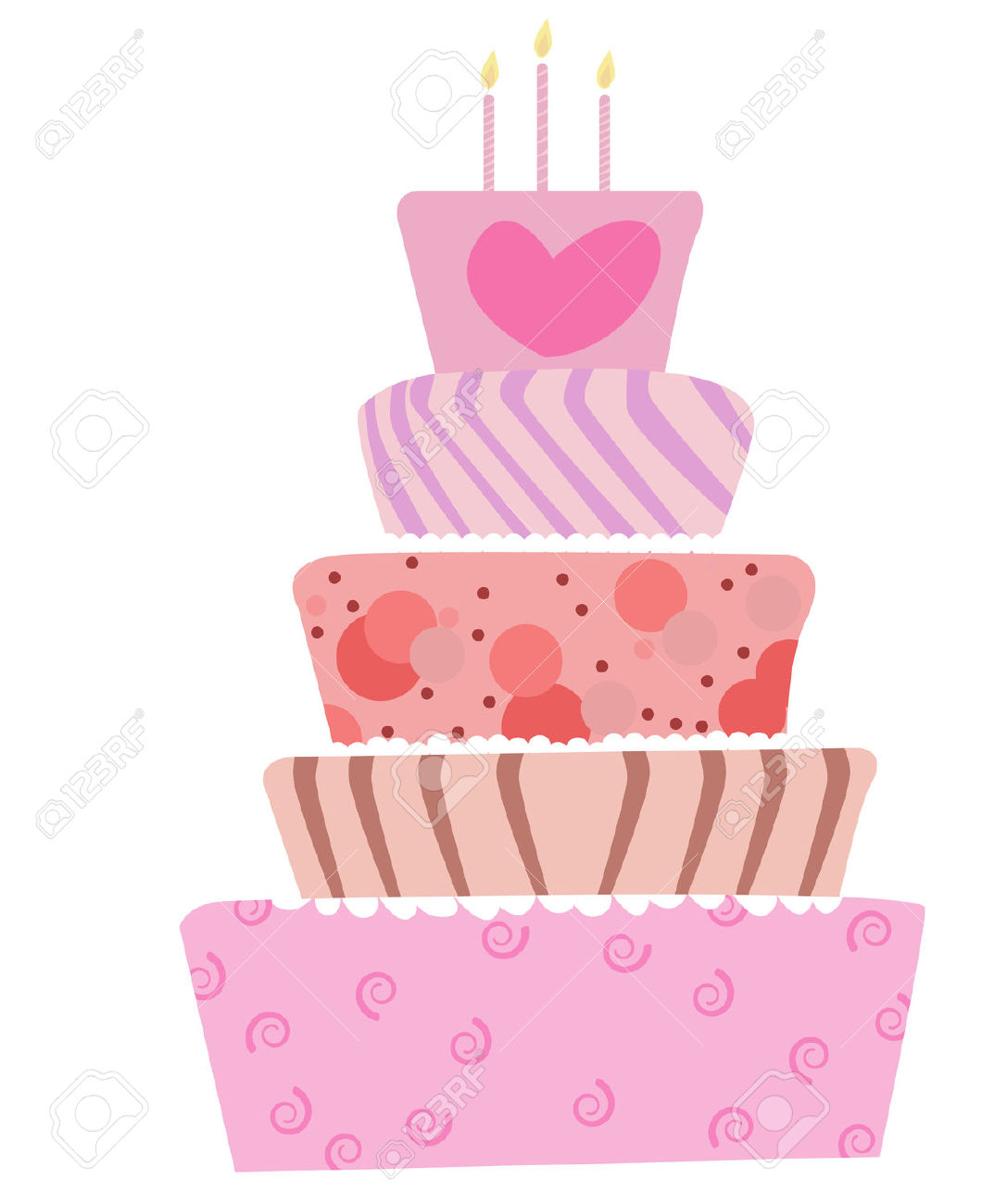 Birthday cake cute clipart graphic free library Illustration Of A Cute Cake For Birthday Or Wedding Royalty Free ... graphic free library