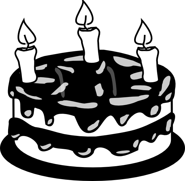 Birthday cake free clipart graphic royalty free 3yr Birthday Cake Bw Clip Art at Clker.com - vector clip art online ... graphic royalty free