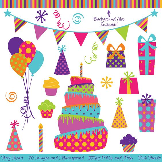 Birthday cake hat clipart jpg black and white download Party Clipart Clip Art, Birthday Cake Clipart Clip Art- Commercial ... jpg black and white download