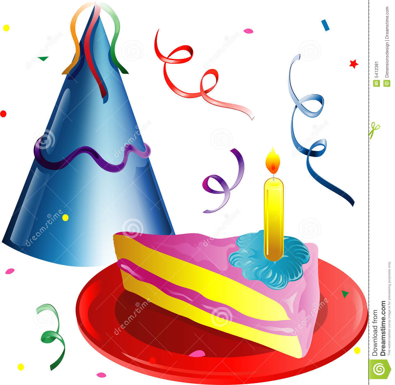 Birthday cake hat clipart clip royalty free library Slice Of Birthday Cake And A Party Hat Royalty Free Stock Images ... clip royalty free library