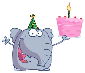 Birthday cake hat clipart picture transparent Birthday Clipart Image - An Elephant in a Party Hat Holding a Pink ... picture transparent