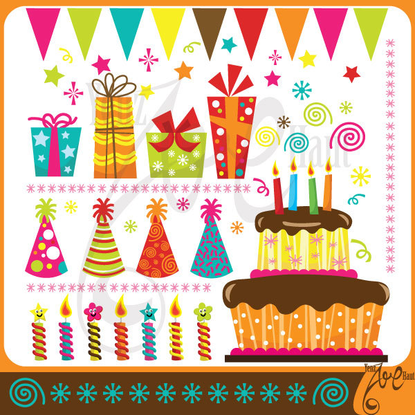 Birthday cake hat clipart svg freeuse Birthday ClipArt BIRTHDAY PARTY clip art svg freeuse
