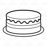 Birthday cake no candles clipart black and white jpg free library Yellow Birthday Cake, with pink frosting, without candles jpg free library