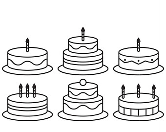 Birthday cake outline clip art clip black and white download Birthday cake clip art – Etsy clip black and white download