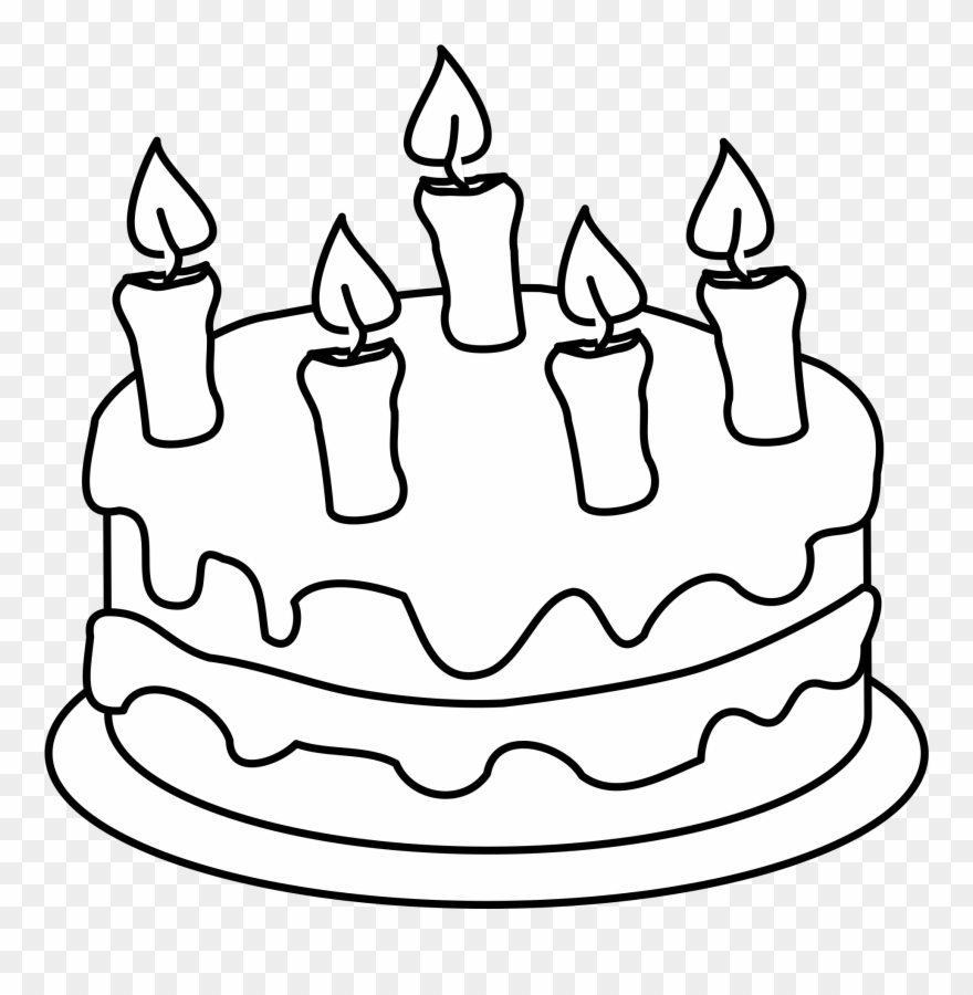 Birthday cake to color clipart banner stock Happy Birthday Cake Clipart - Colouring Pages Of Cake - Png Download ... banner stock