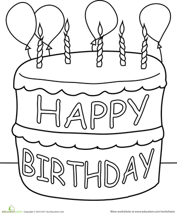 Birthday cake to color clipart vector library Birthday Cake Coloring Page | WELCOME TO THE WORLD OF PRESCHOOL ... vector library