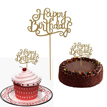 Birthday cake turning ten clipart jpg library 10 Gold Glittery Happy Birthday Cake Toppers. Sparkling Gold Glittery  Birthday Cupcake Picks. Cake Smash Birthday Party Decorations, Candle ... jpg library