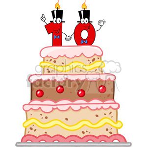 Birthday cake turning ten clipart svg black and white 128126 RF Clipart Illustration Birthday Cake With Number Ten Candles  Cartoon Character clipart. Royalty-free clipart # 385123 svg black and white