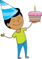 Birthday cake with candles for boy clipart vector stock Free Birthday Clipart - Clip Art Pictures - Graphics - Illustrations vector stock