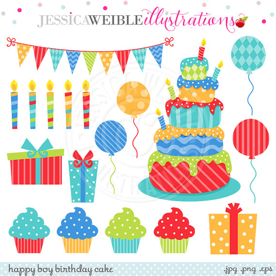 Birthday cake with candles for boy clipart graphic free download Happy Boy Birthday Cake Cute Digital Clipart for Commercial or ... graphic free download