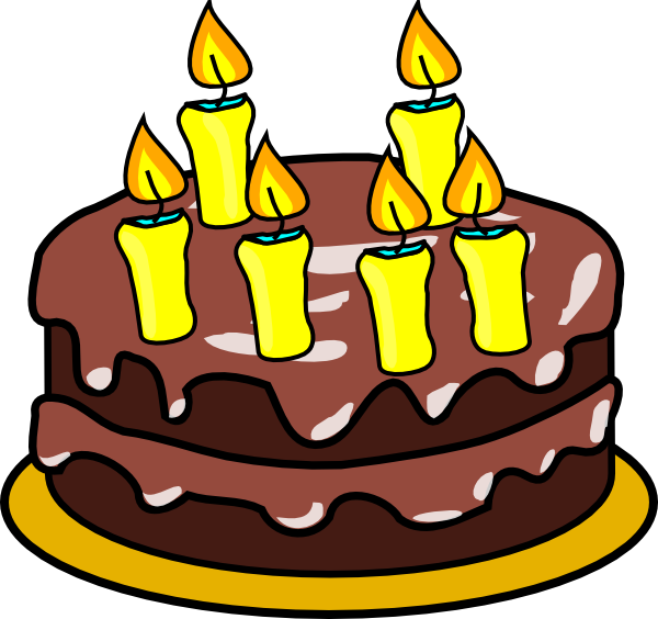 Birthday cake with candles for boy clipart