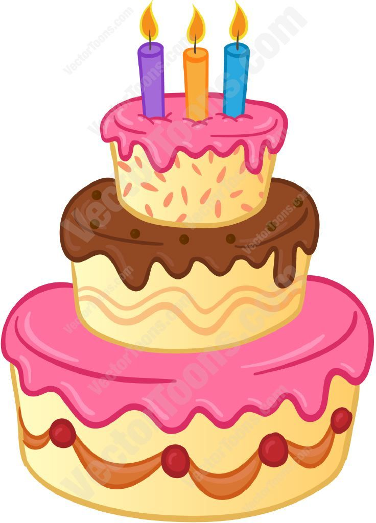 Birthday cake with candles not lit clipart image library download Three tiered birthday cake with lit candles and pink and brown ... image library download