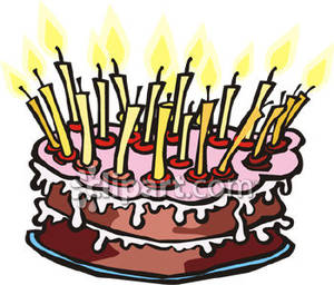 Birthday Cake with Lots of Candles - Royalty Free Clipart Picture picture royalty free download