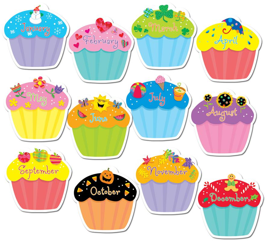 Birthday cake with months of the year clipart free clip royalty free stock Cupcake birthday clipart clip royalty free stock