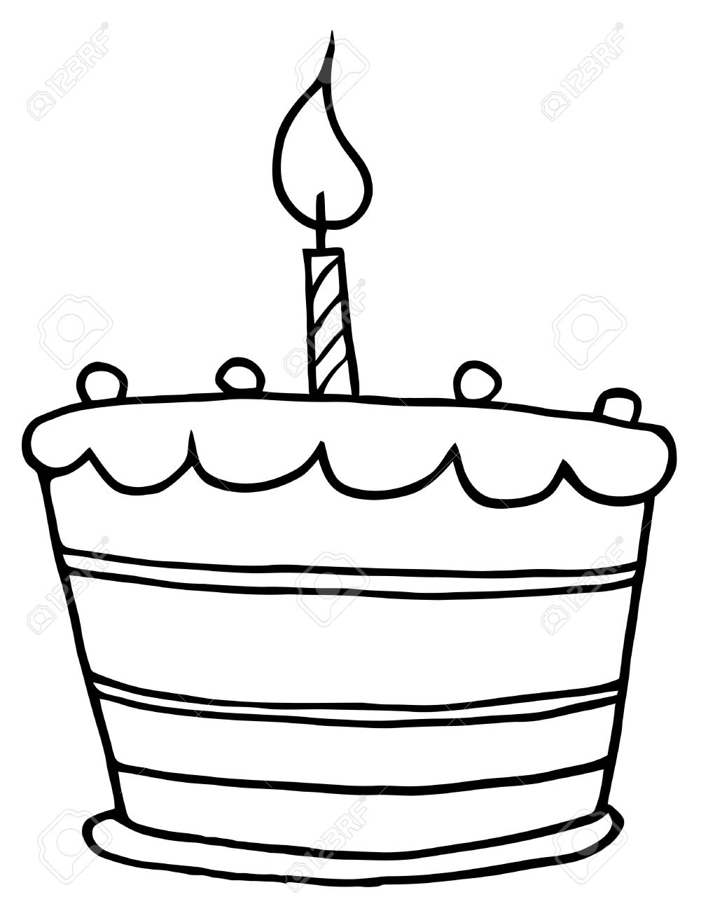Birthday cake with one candle clipart image freeuse stock Outlined Tiered Birthday Cake With One Candle On Top Royalty Free ... image freeuse stock