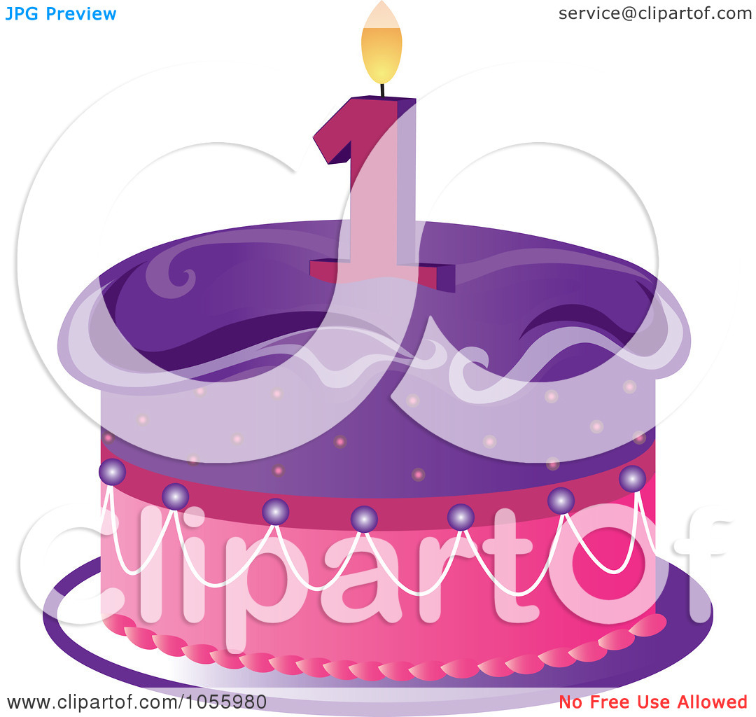 Birthday cake with one candle clipart. Royalty free vector clip