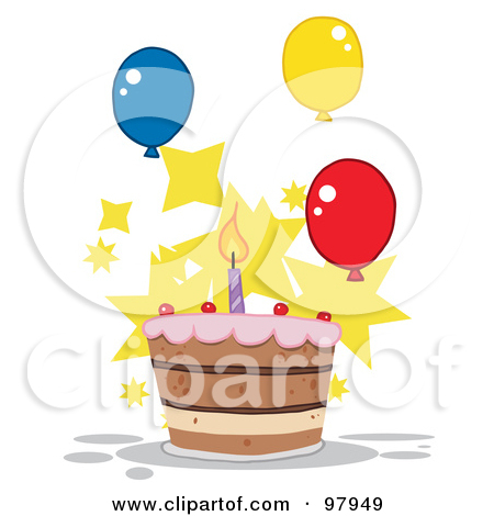 Birthday cake with one candle clipart. Royalty free rf clip