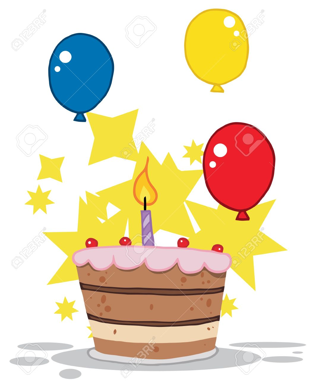 Birthday cake with one candle clipart. Lit and balloons stars