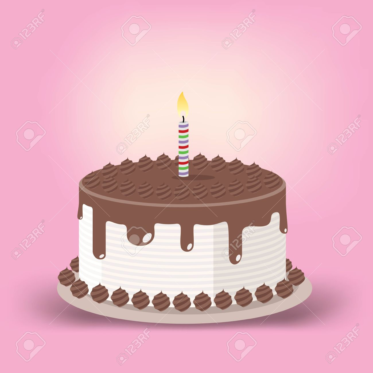 Birthday cake with one candle clipart image black and white download Birthday Cake With One Lit Candle Royalty Free Cliparts, Vectors ... image black and white download