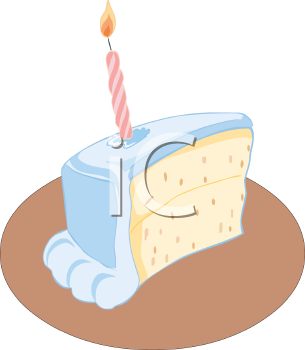Slice of royalty free. Birthday cake with one candle clipart