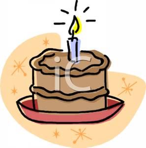 Royalty free picture chocolate. Birthday cake with one candle clipart