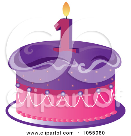 Birthday cake with one candle clipart. Purple and pink a