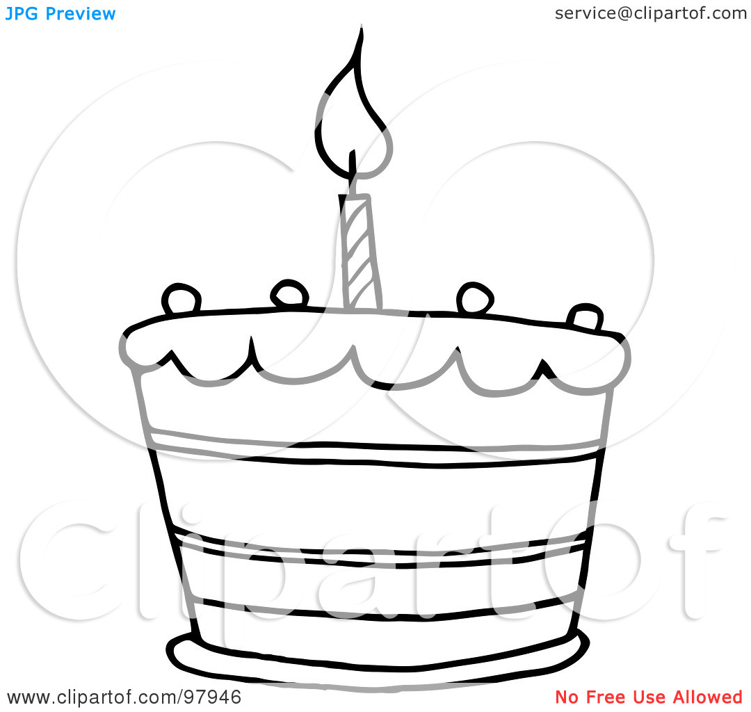 Birthday cake with one candle clipart banner black and white library Royalty-Free (RF) Clipart Illustration of an Outlined Tiered ... banner black and white library