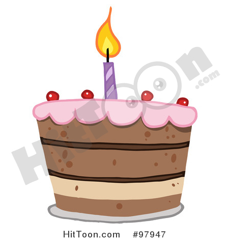 Tiered royaltyfree rf illustration. Birthday cake with one candle clipart