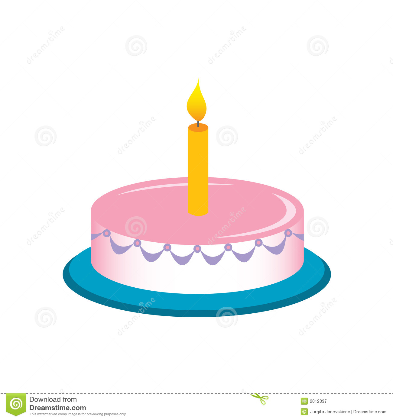 Birthday cake with one candle clipart. Royalty free stock photography