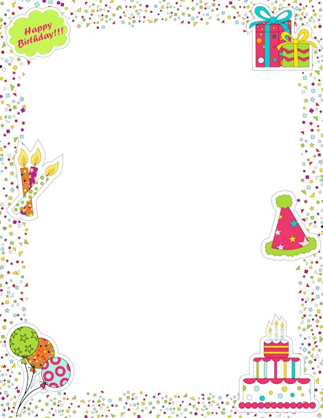 Birthday candle border clipart banner transparent library Printable page border featuring birthday graphics like candles ... banner transparent library