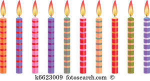 Birthday candle clipart. Illustrations clip colorful candles