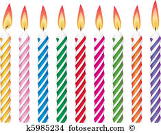 Illustrations clip colorful candles. Birthday candle clipart
