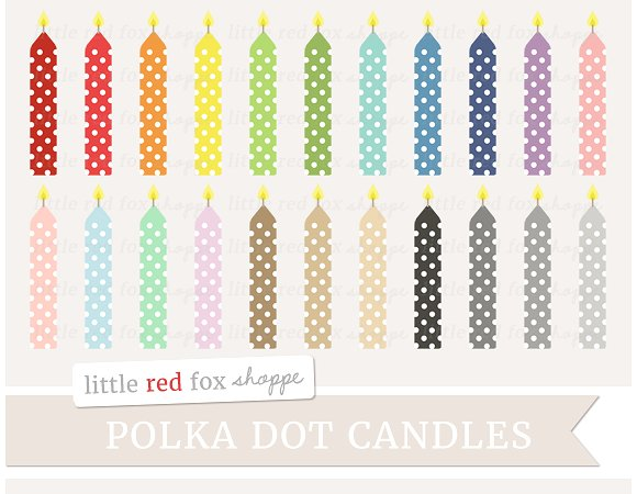 Birthday candle clipart. Illustrations on creative market